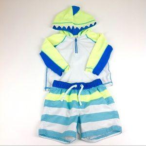 Baby Gap Swim Shorts & Shark Hoodie 18 - 24 months